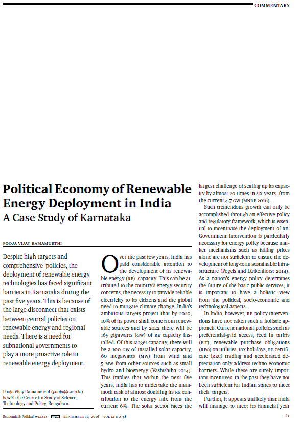 Political Economy of Renewable Energy Deployment in India: A Case Study of Karnataka