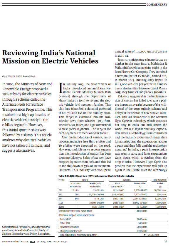 Reviewing India's National Mission on Electric Vehicles